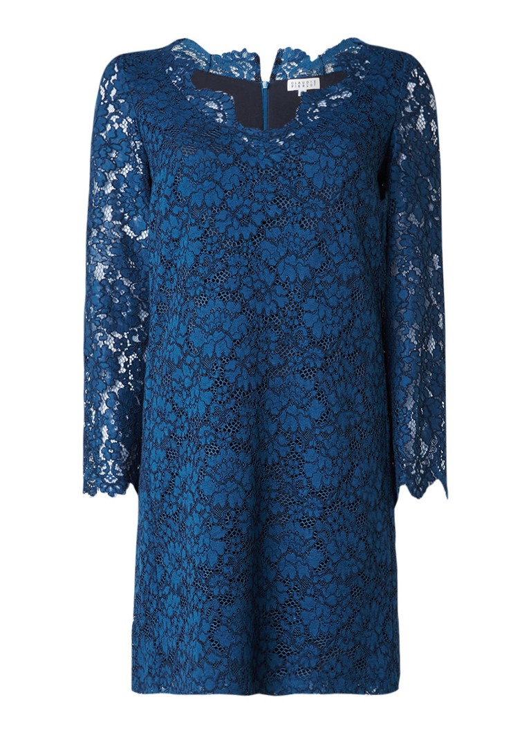 Claudie Pierlot Rostant midi-jurk met kant en V-hals petrol