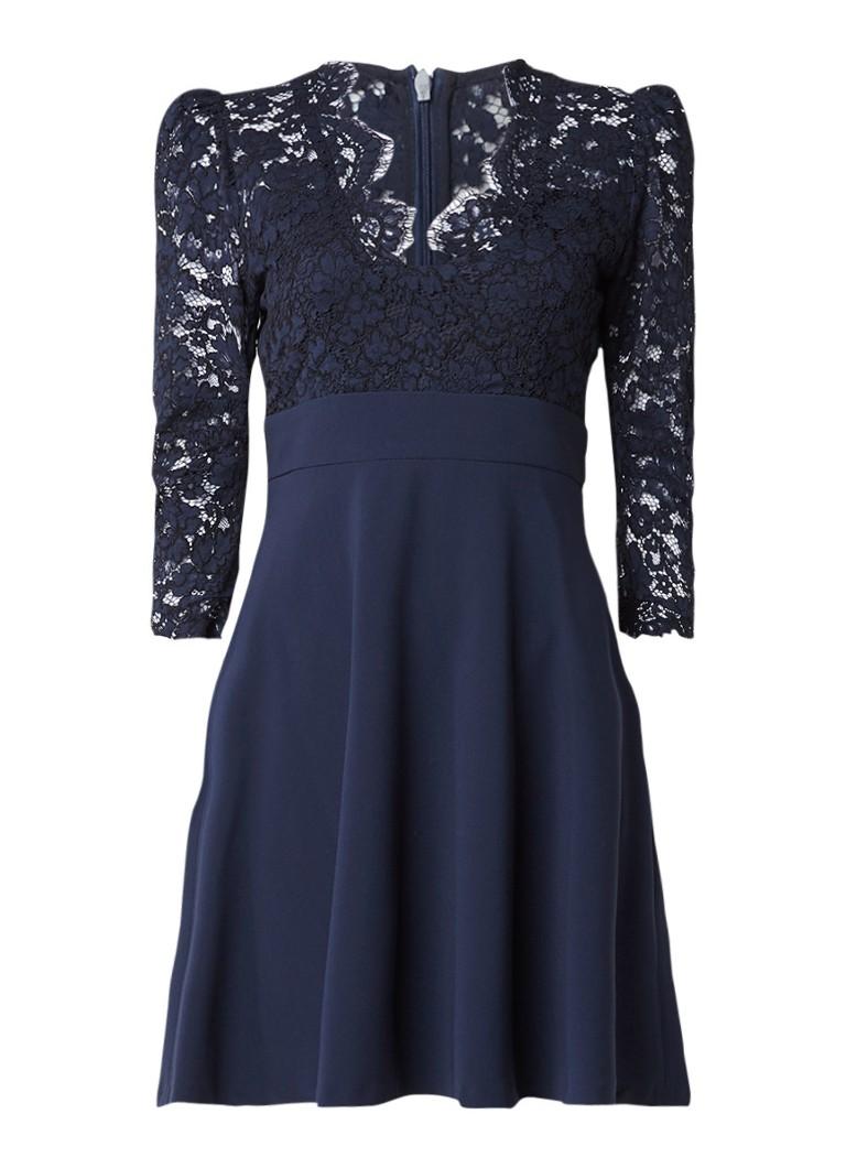 Claudie Pierlot Rickle A-lijn jurk met kant donkerblauw