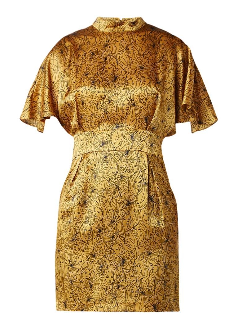 Claudie Pierlot Recital jurk van zijde met all over dessin okergeel
