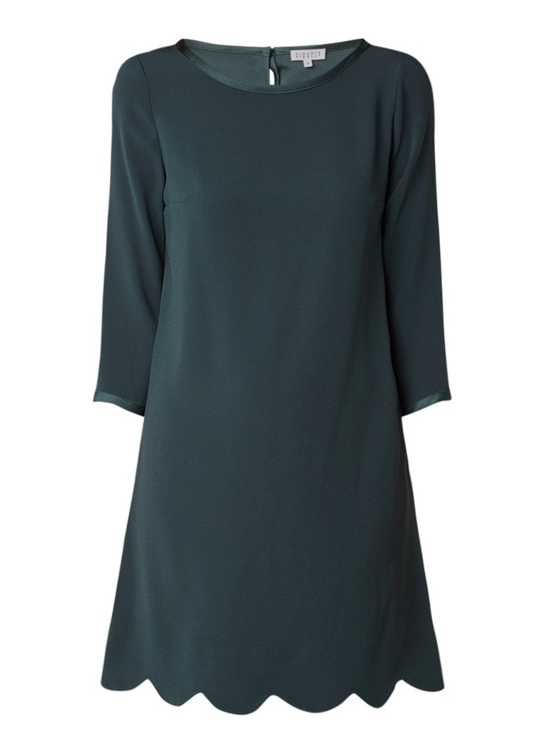Claudie Pierlot Ribbon A-lijn jurk met golvende zoom donkergroen