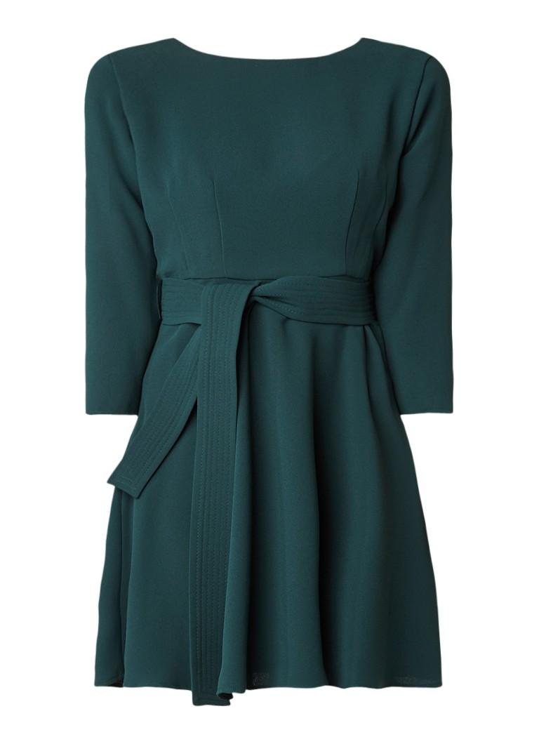 Claudie Pierlot Roselie A-lijn jurk met ceintuur donkergroen
