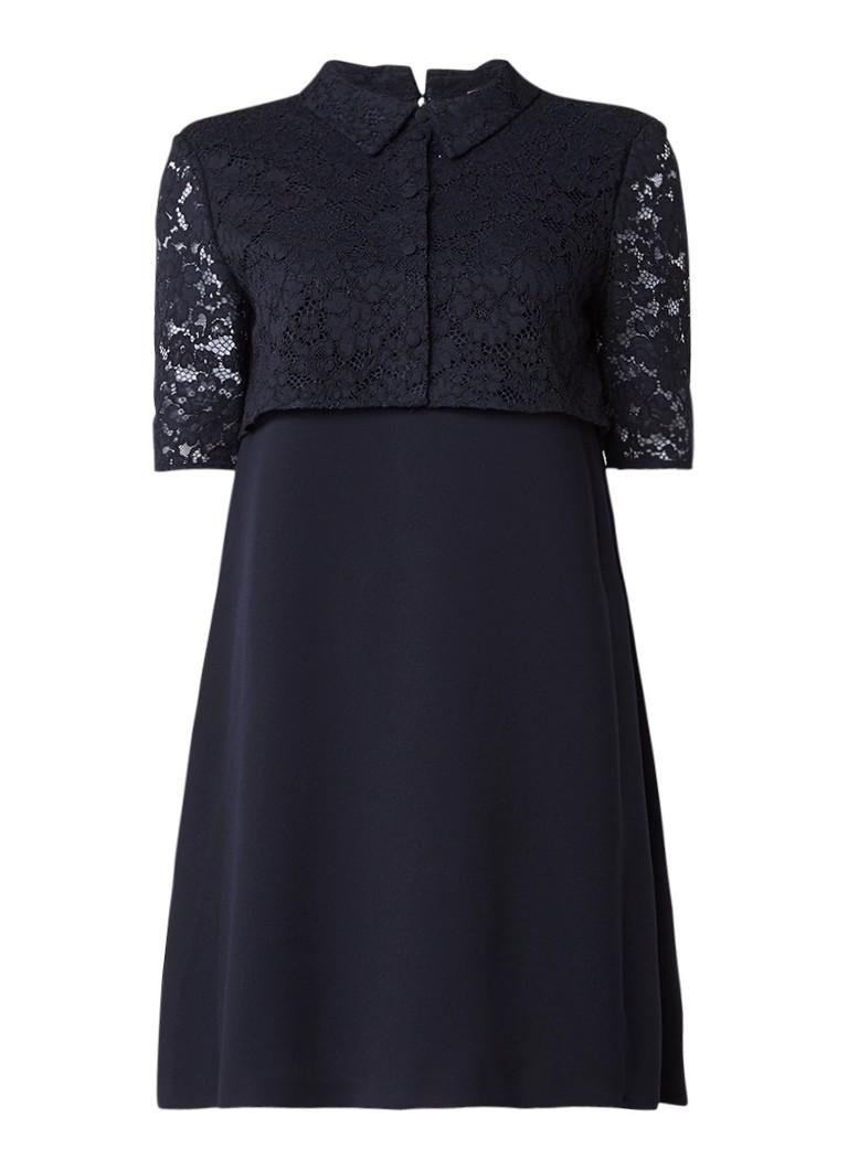 Claudie Pierlot Rima A-lijn midi-jurk met overlay van kant zwart