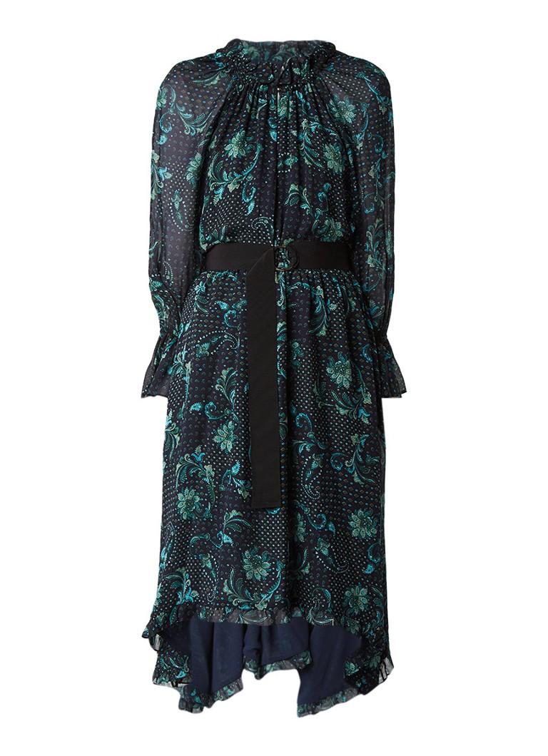 Claudie Pierlot Romiliy midi-jurk met dessin en ceintuur donkerblauw