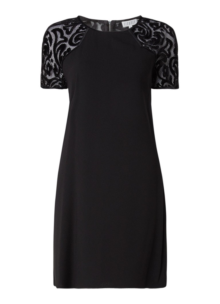Claudie Pierlot Rahia mini-jurk met opengewerkte details en fluweel zwart