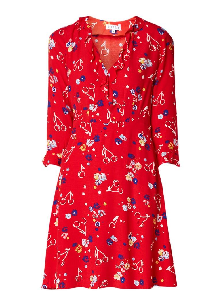 Claudie Pierlot Reflect A-lijn jurk van crêpe met bloemendessin vuurrood