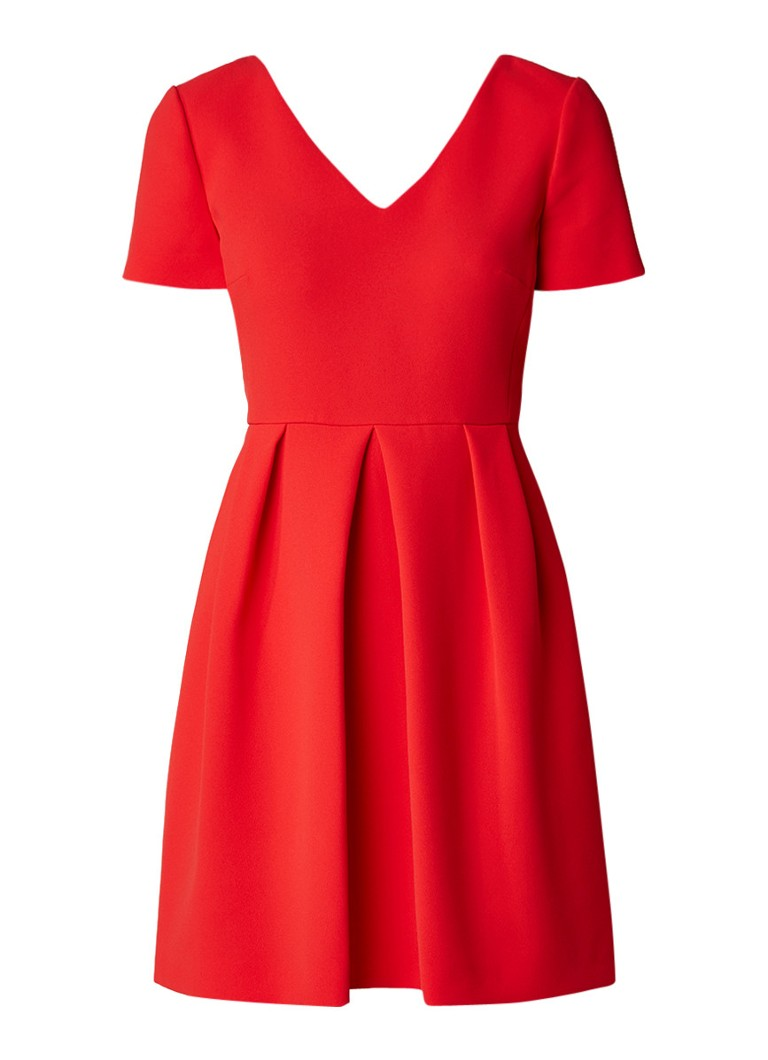 Claudie Pierlot Rosaline A-lijn jurk van crêpe met gekruiste banden rood