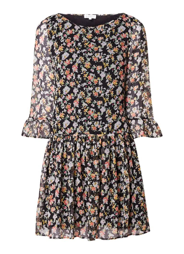 Claudie Pierlot Rafia A-lijn jurk met bloemendessin zwart