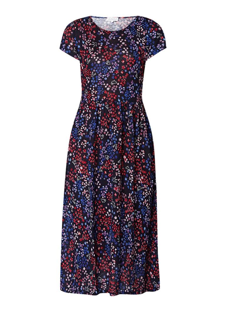 Claudie Pierlot Tuesday tuniekjurk in linnenblend met bloemendessi donkerblauw