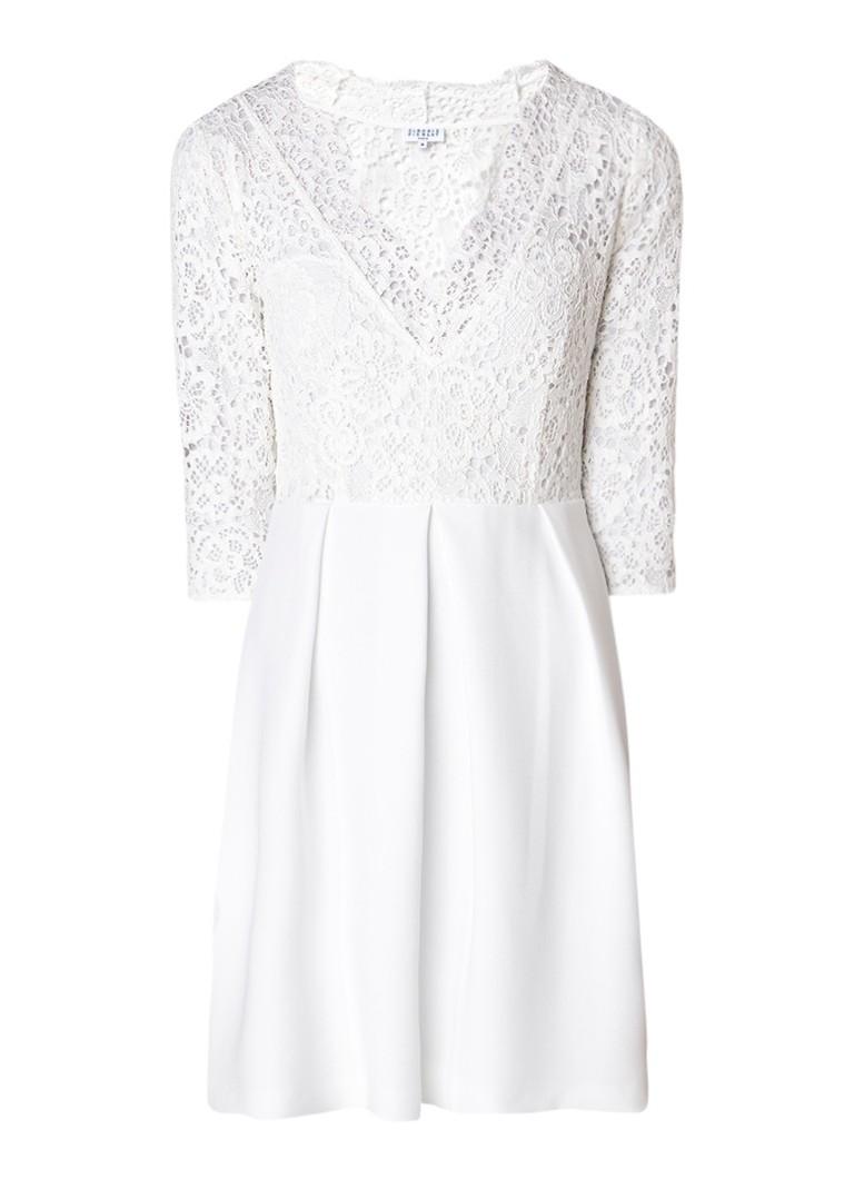 Claudie Pierlot Rossana A-lijn jurk met top van kant gebroken wit