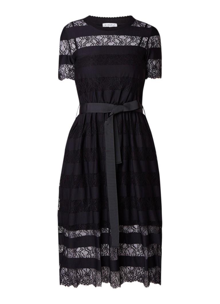 Claudie Pierlot Tactique midi-jurk van gestreept kant zwart