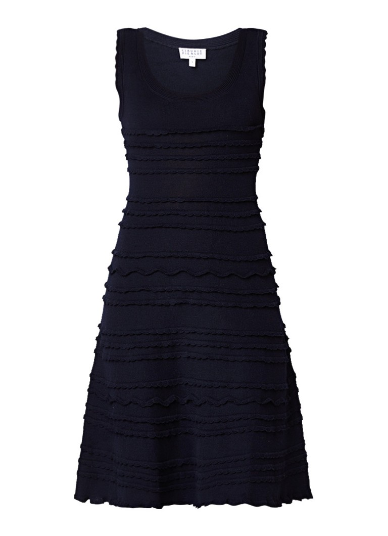 Claudie Pierlot Malison fijngebreide jurk met ruches donkerblauw