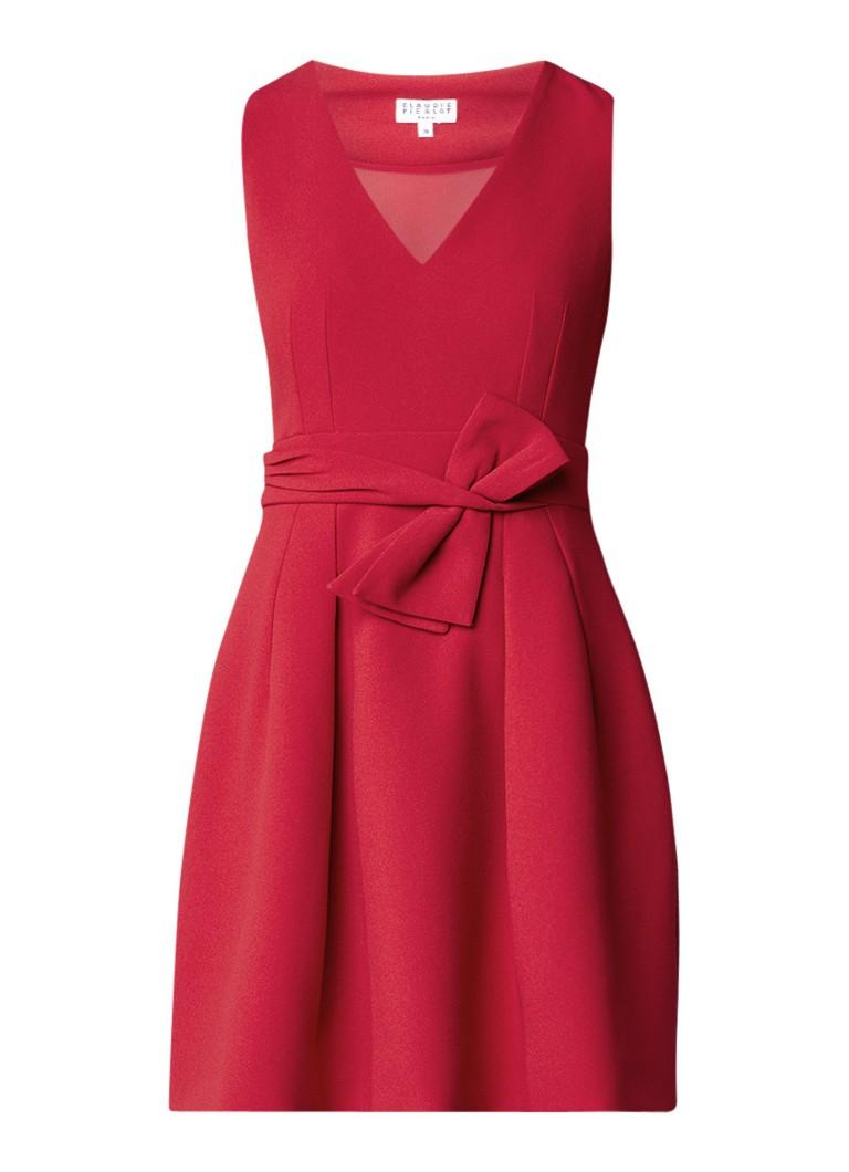 Claudie Pierlot Russelia A-lijn jurk met strikdetail lichtroze