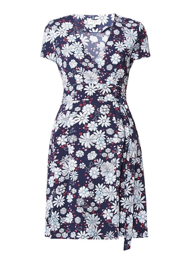 Claudie Pierlot Rusee jurk met strikceintuur en bloemendessin donkerblauw