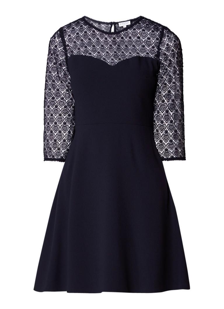 Claudie Pierlot Rimabelle midi-jurk met hartjesdessin van kant donkerblauw