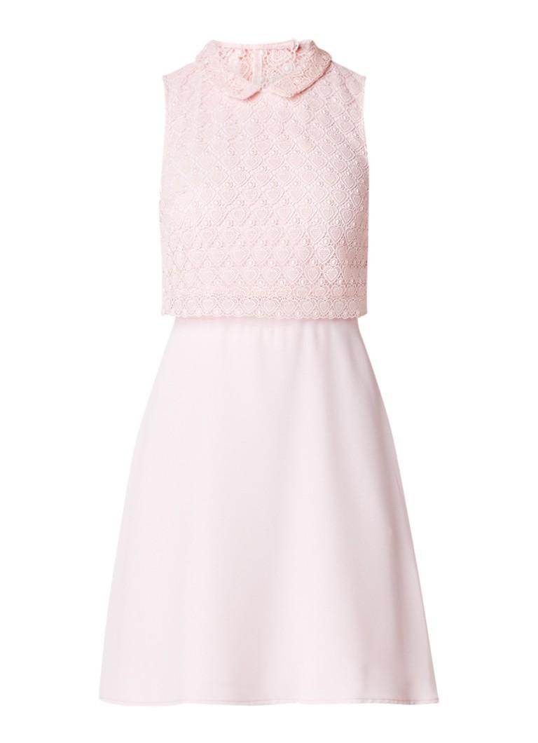 Claudie Pierlot Rosminda A-lijn jurk met kant en rugdecolleté roze