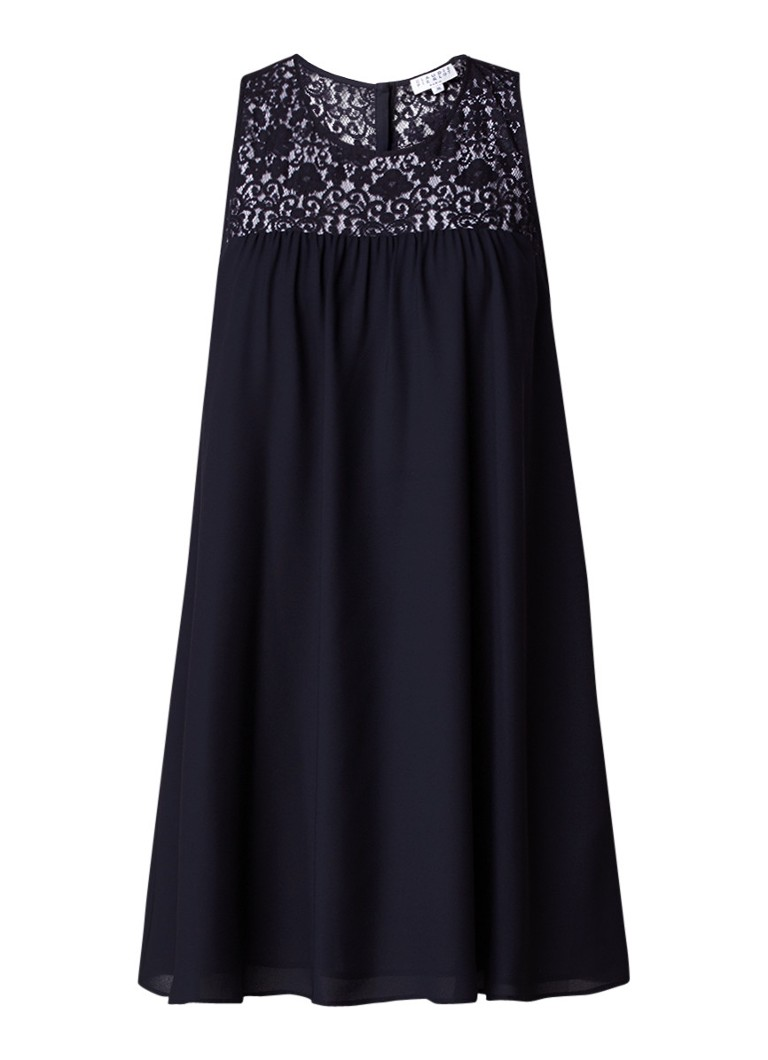 Claudie Pierlot Roseita A-lijn mini-jurk met kanten detail donkerblauw