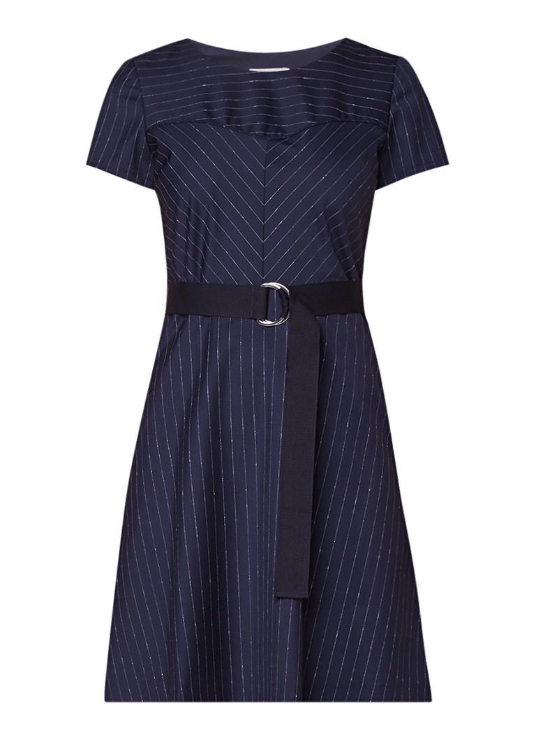 Claudie Pierlot Russel A-lijn jurk in wolblend met krijtstreep donkerblauw