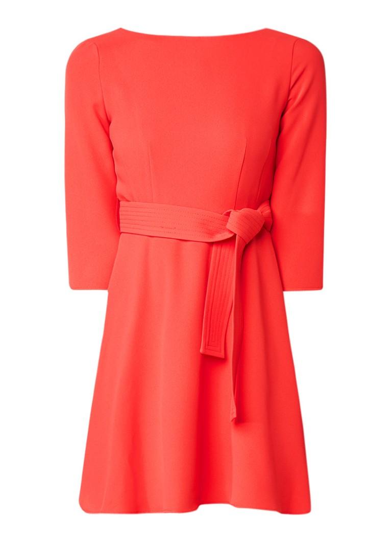 Claudie Pierlot Roselie A-lijn jurk met strikceintuur blauw