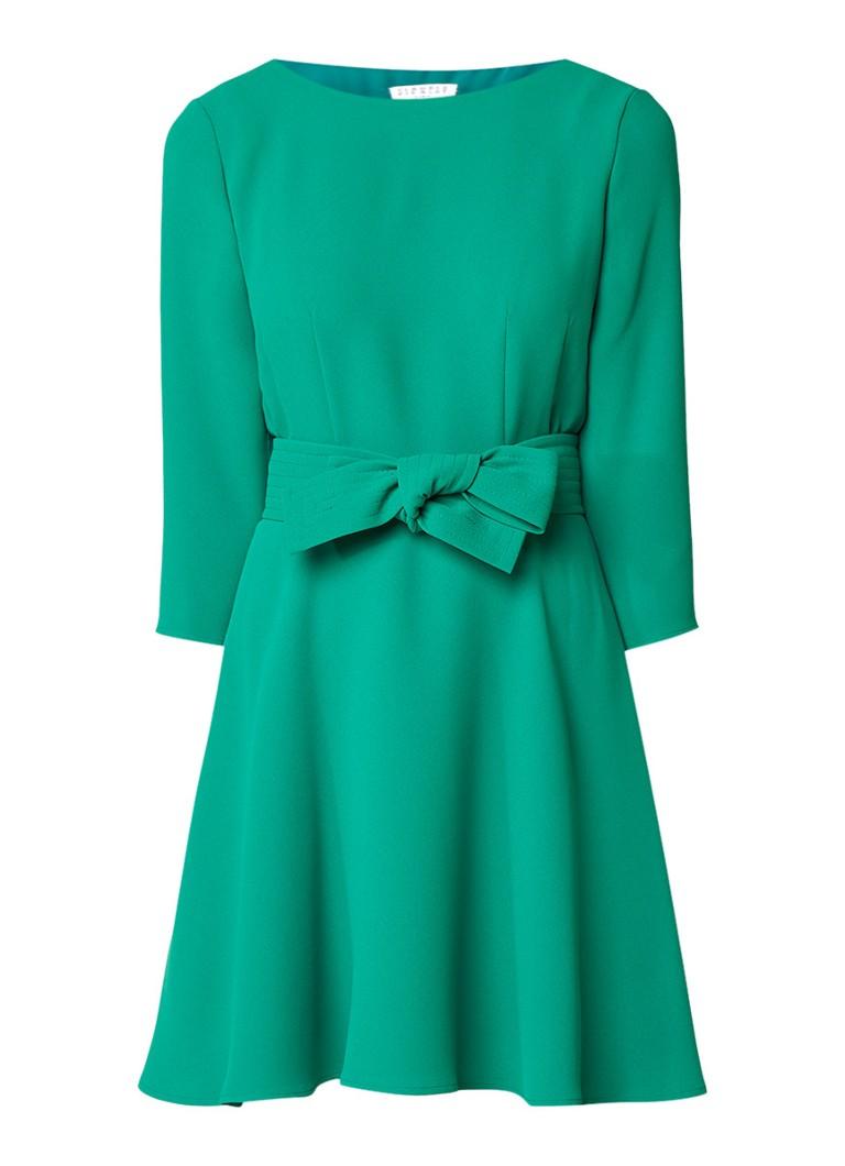 Claudie Pierlot Roselie A-lijn jurk met strikceintuur koraal