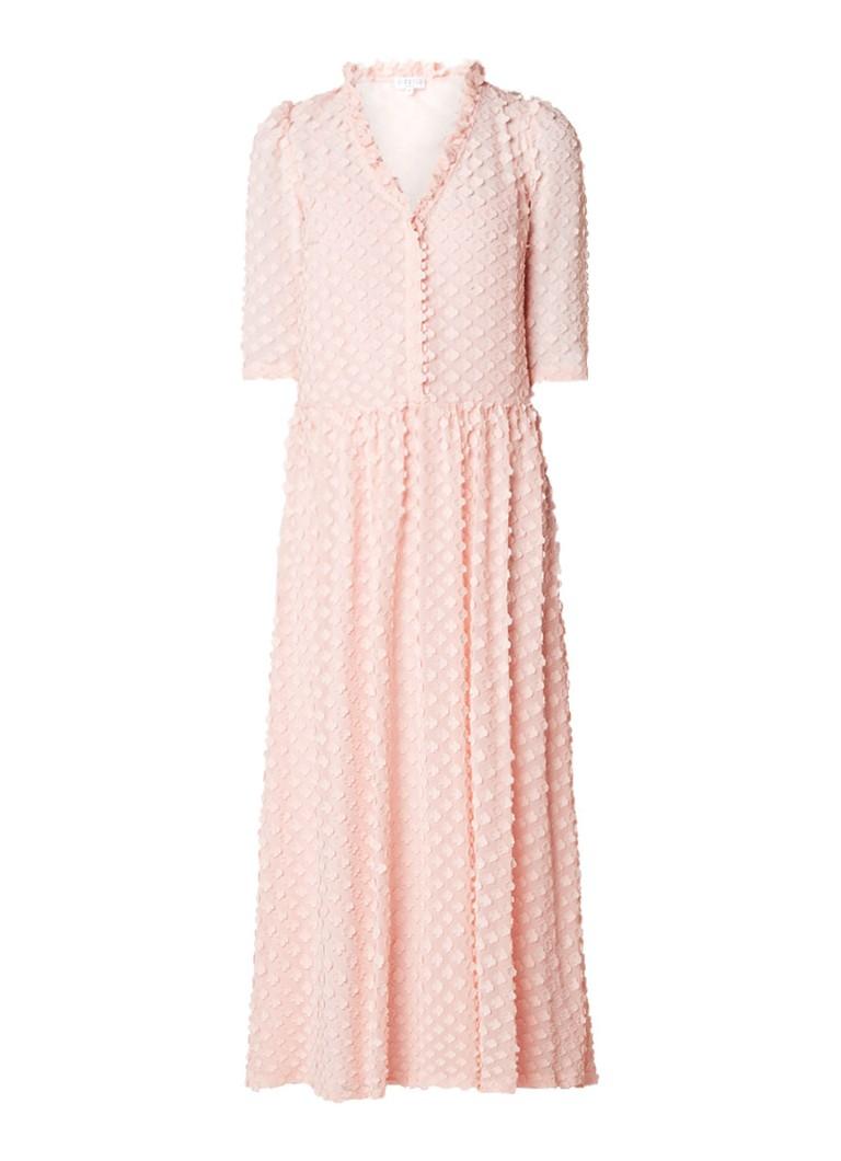 Claudie Pierlot Renand maxi-jurk van chiffon met bloemapplicaties roze