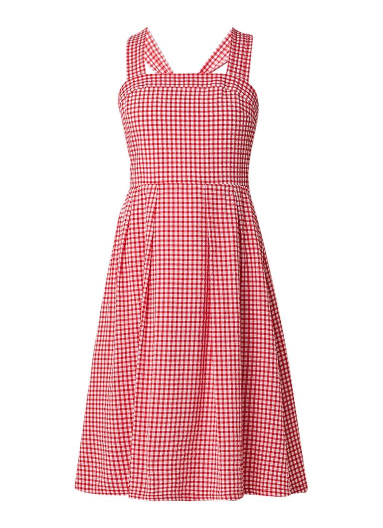 Claudie Pierlot Ricky midi-jurk met ruitdessin en strikdetail rood