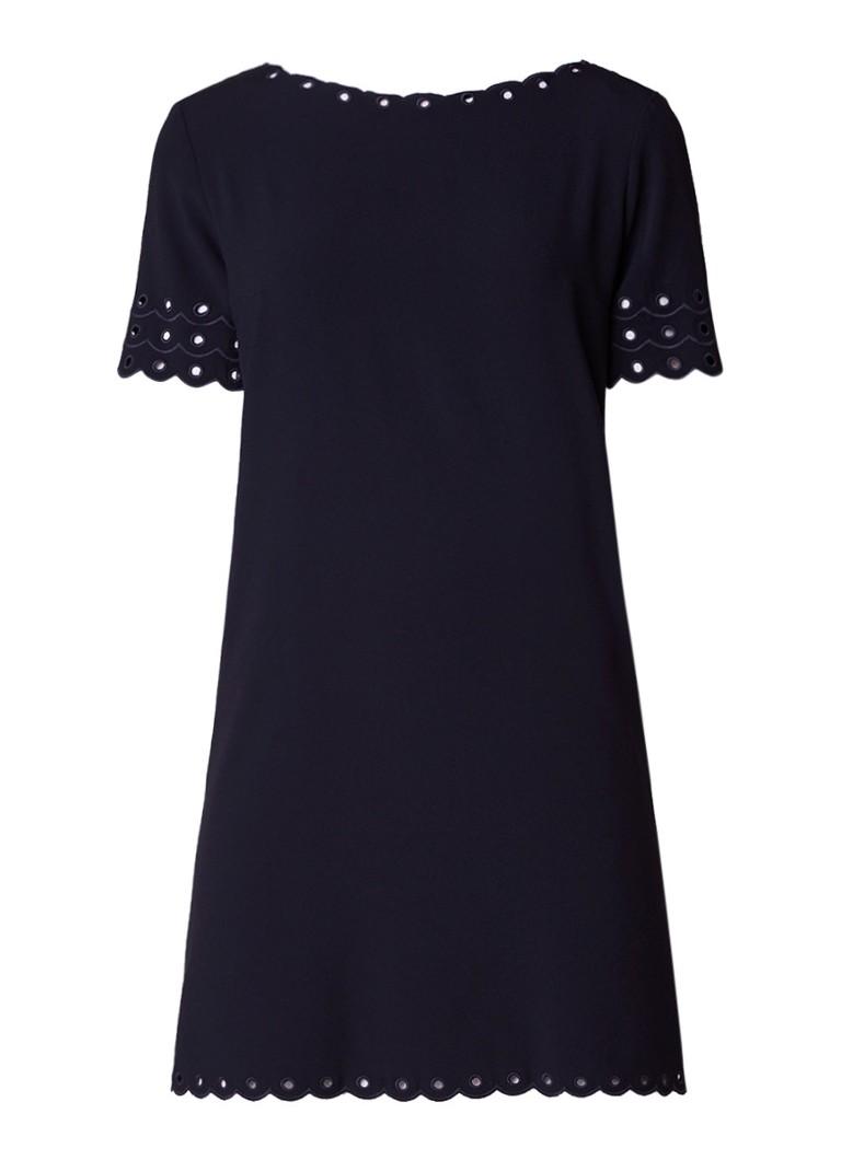 Claudie Pierlot Rines mini-jurk met boothals en broderie donkerblauw