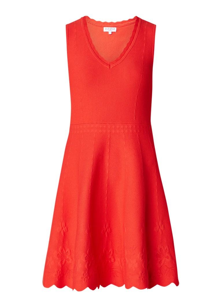Claudie Pierlot Mira fijngebreide A-lijn midi-jurk met ingeweven dessin koraal
