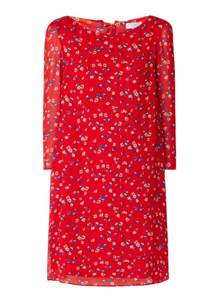 Claudie Pierlot Rififi A-lijnjurk met bloemendessin en strikdetail rood