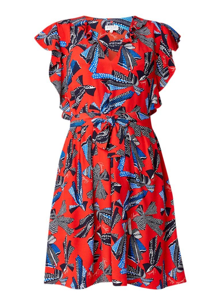 Claudie Pierlot Retro A-lijn jurk met volant en strikkendessin rood
