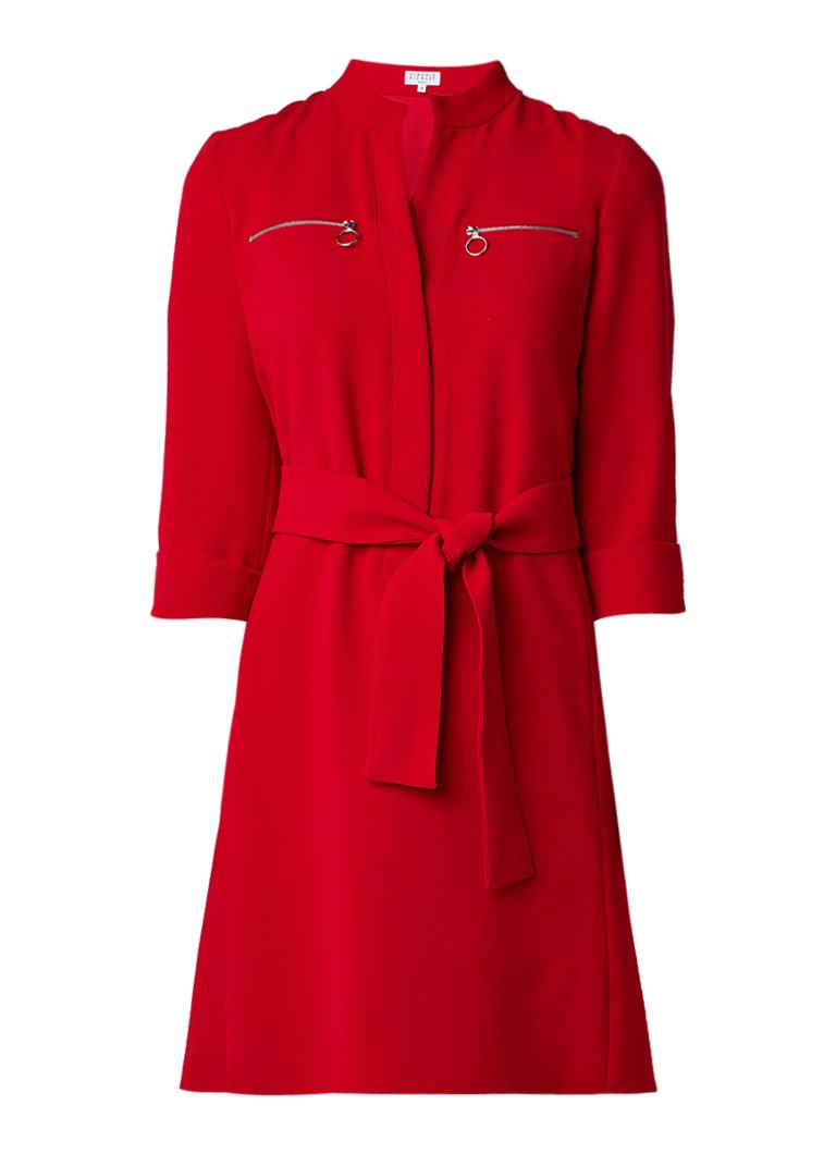 Claudie Pierlot Red blousejurk met ritszakken en strikceintuur rood