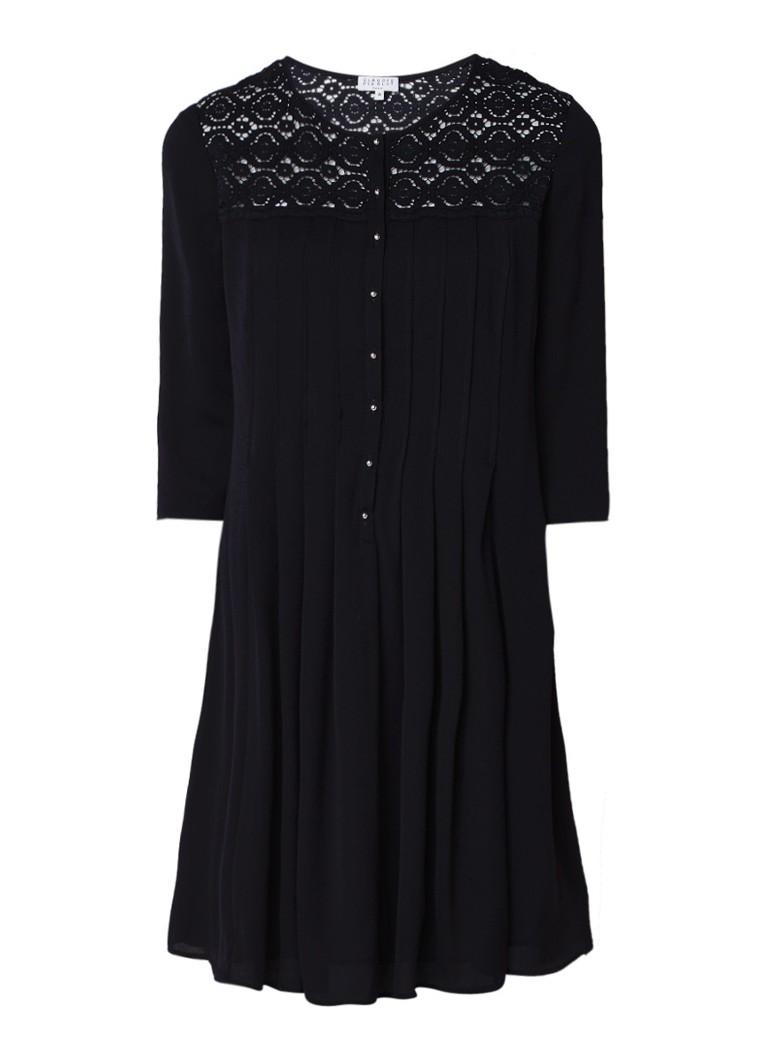Claudie Pierlot Rosie A-lijn jurk met broderie donkerblauw
