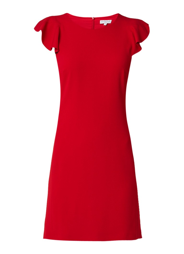 Claudie Pierlot Roquette midi-jurk met volantmouw rood