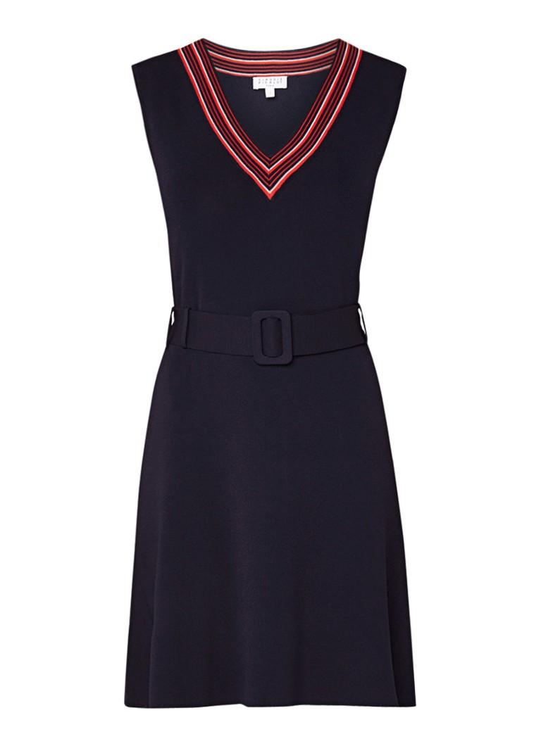 Claudie Pierlot Maina fijngebreide jurk met ceintuur donkerblauw