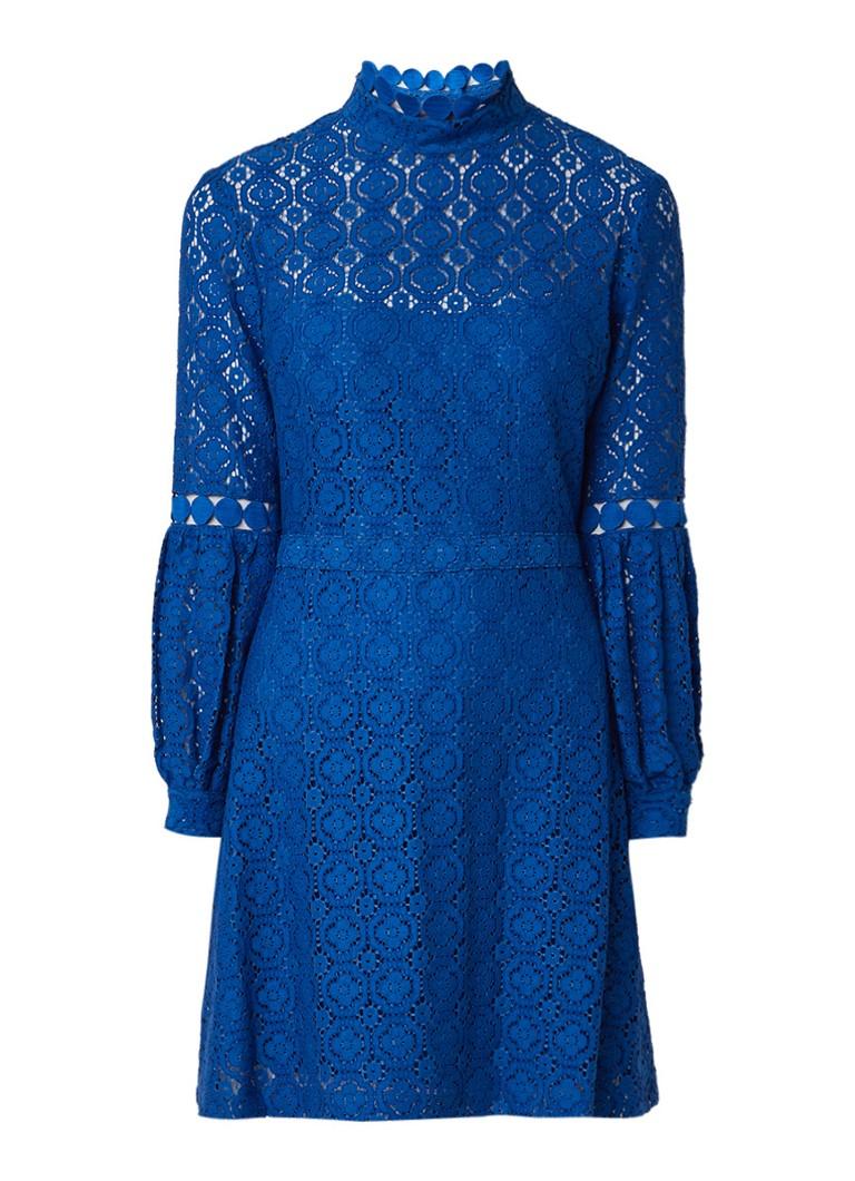 Claudie Pierlot Romeo A-lijn jurk met broderie kobaltblauw
