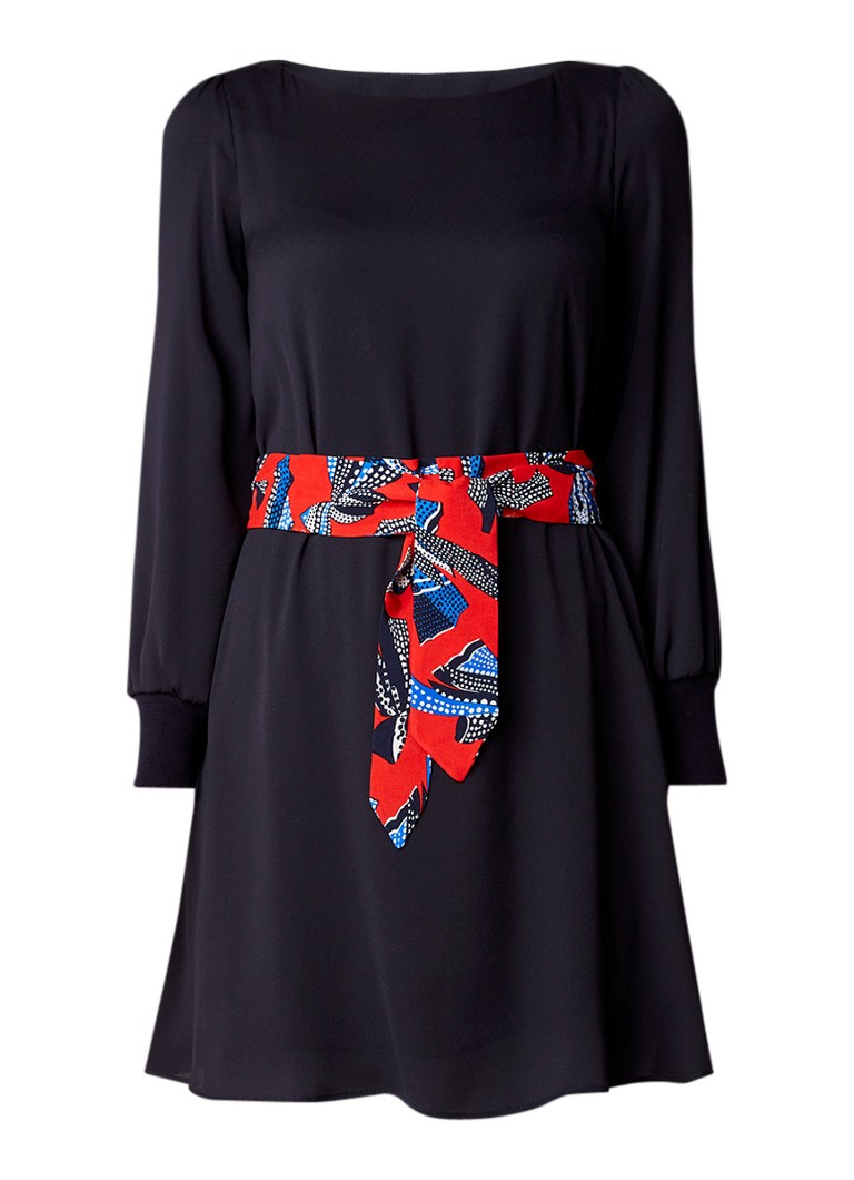 Claudie Pierlot Ravageuse midi-jurk met ceintuur en geribde mouwboord donkerblauw