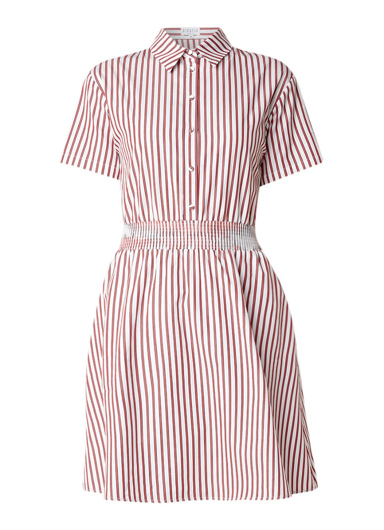 Claudie Pierlot Rayon Rouge blousejurk met gesmockte detail en streepdessin rood