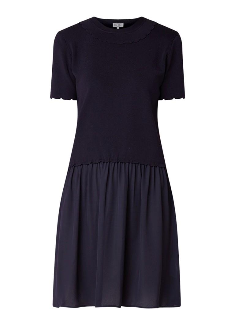 Claudie Pierlot Miao mini-jurk met rok van crêpe donkerblauw