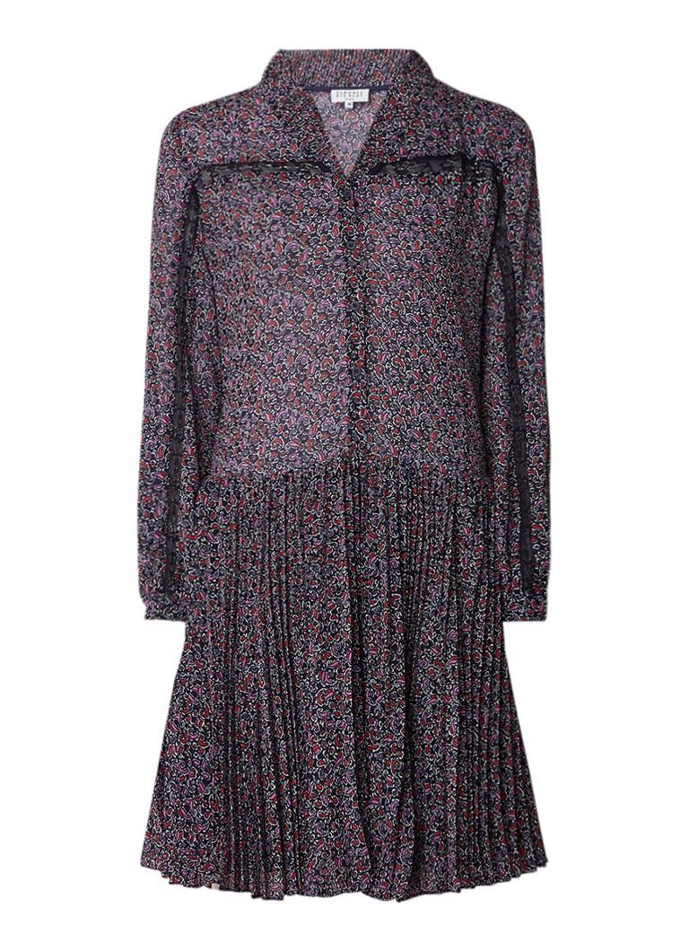 Claudie Pierlot Reveuse blousejurk met plissé en paisleyprint donkerblauw