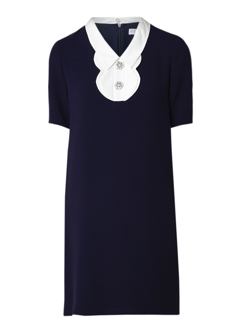 Claudie Pierlot Rana mini-jurk met contrastkraag en strassknopen donkerblauw