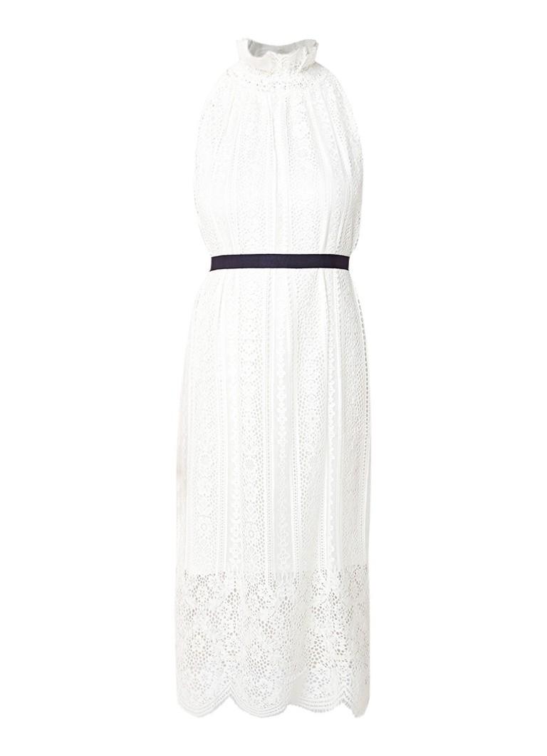 Claudie Pierlot Tipy midi-jurk van kant met strikceintuur gebroken wit