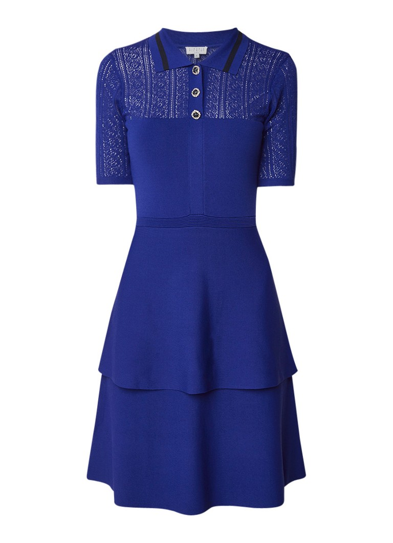 Claudie Pierlot Manoa fijngebreide midi-jurk met strass kobaltblauw