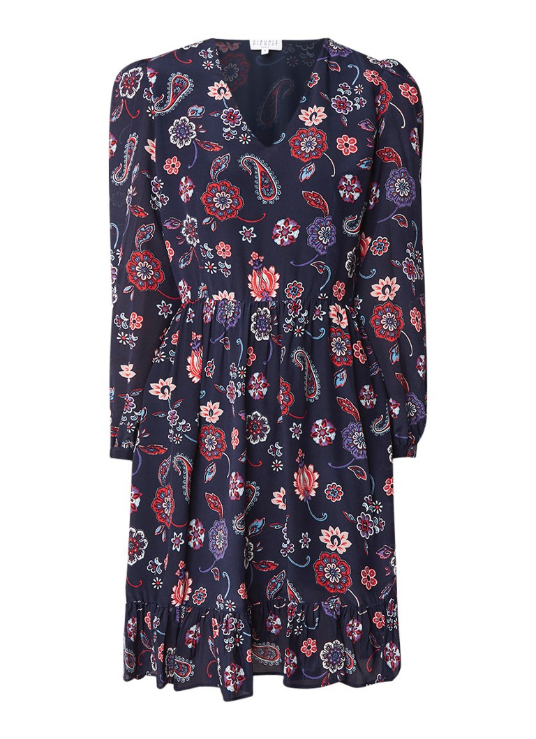 Claudie Pierlot Rosace midi-jurk van zijde met paisley- en bloemendessin donkerblauw
