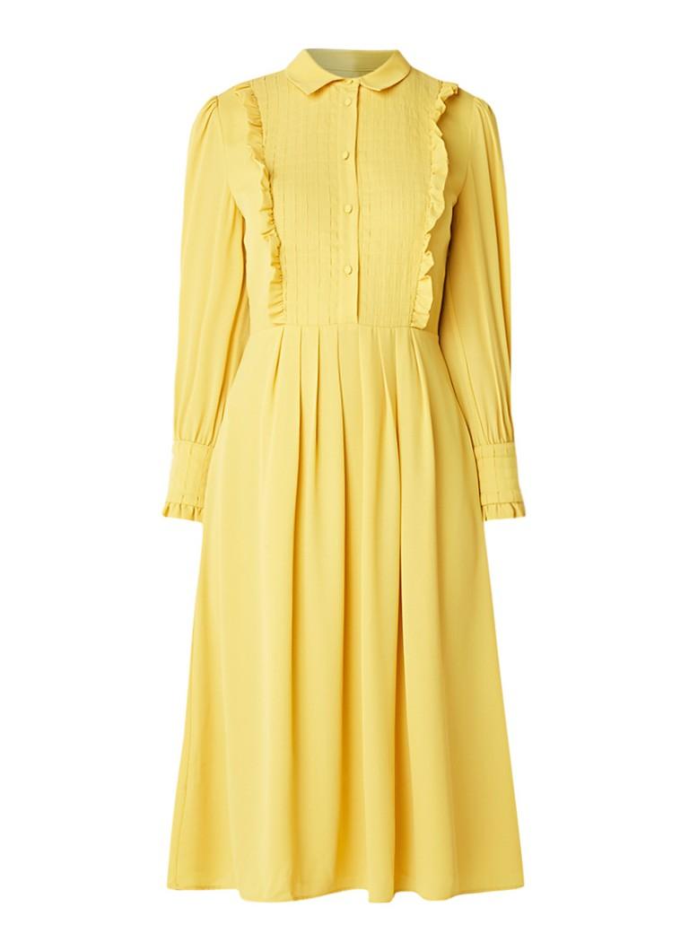 Claudie Pierlot Randy midi A-lijn blousejurk met ruches geel
