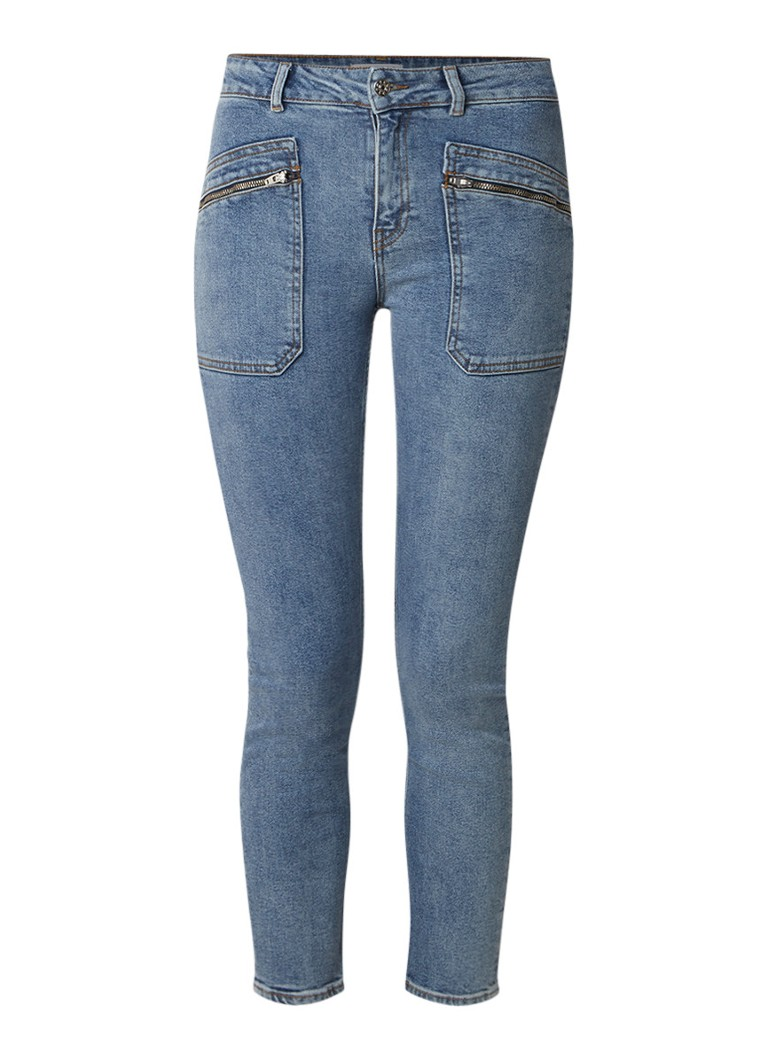 Claudie Pierlot Pool high rise cropped slim fit jeans in lichte wassing