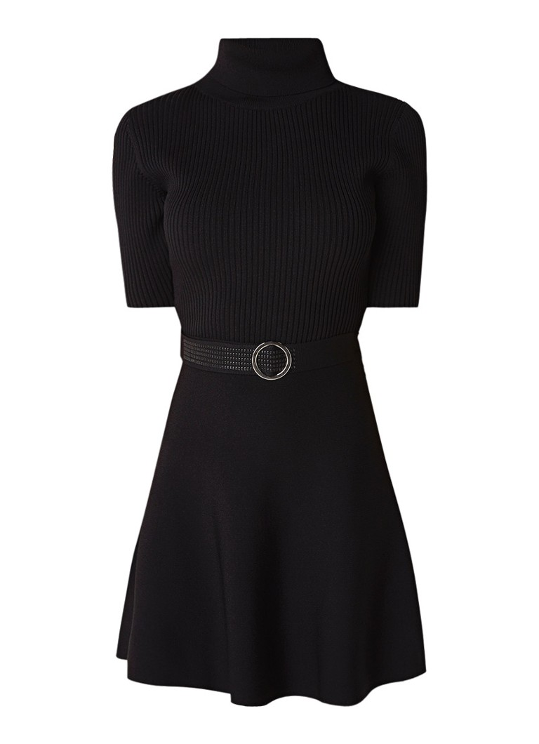 Claudie Pierlot Mango fijngebreide A-lijn jurk met ceintuur zwart