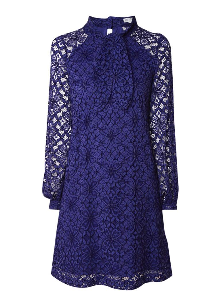Claudie Pierlot Rami mini-jurk van guipure kant met strikkraag kobaltblauw