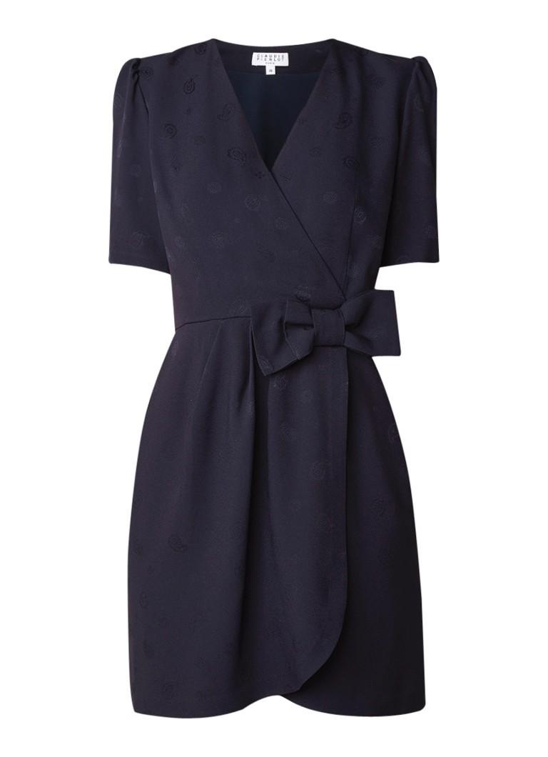 Claudie Pierlot Rina mini-jurk met overslag en paisley dessin donkerblauw