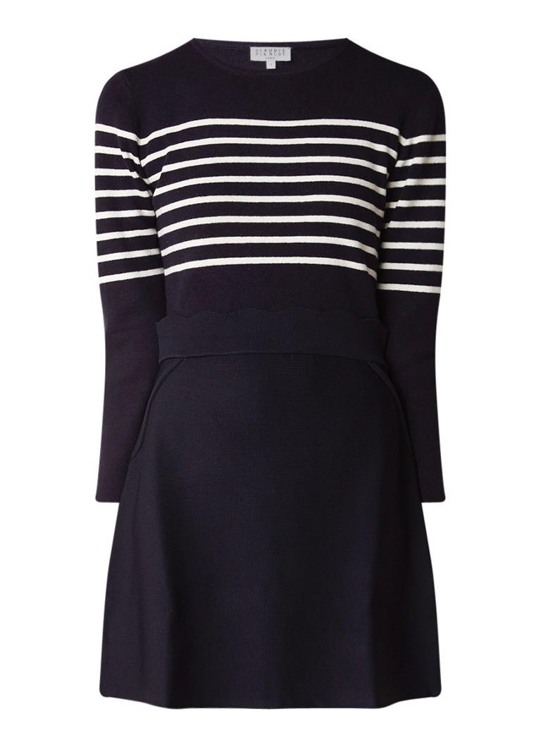 Claudie Pierlot Maillon fijngebreide midi-jurk in wolblend donkerblauw