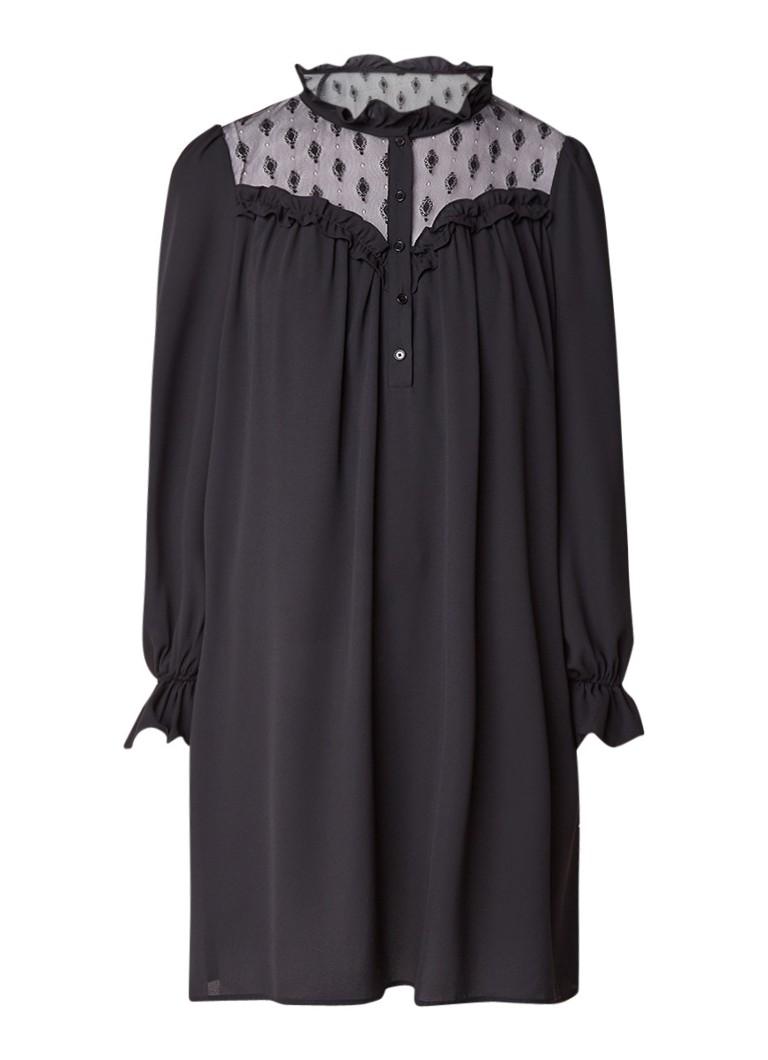 Claudie Pierlot Rosalie blousejurk met detail van kant zwart
