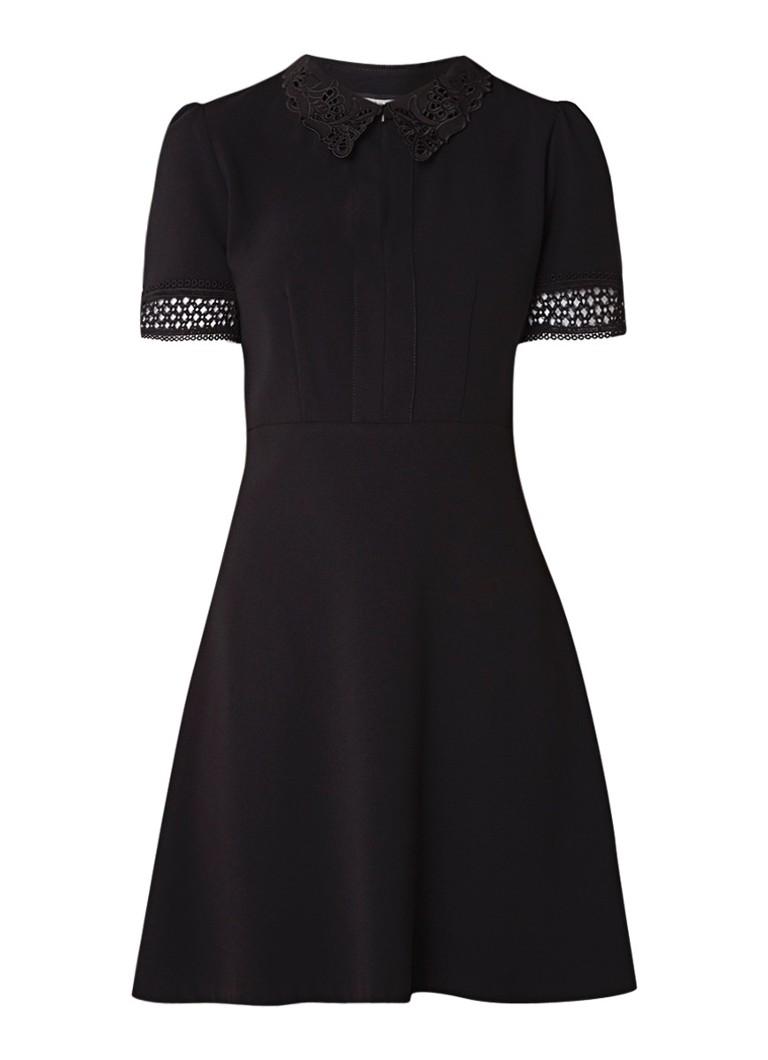 Claudie Pierlot Raven blousejurk van crêpe met broderie zwart